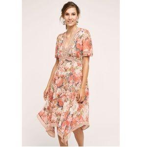 Anthropologie Ranna Gill pink floral dress